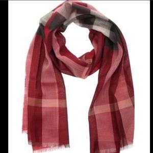 Burberry red coral black plaid scarf check